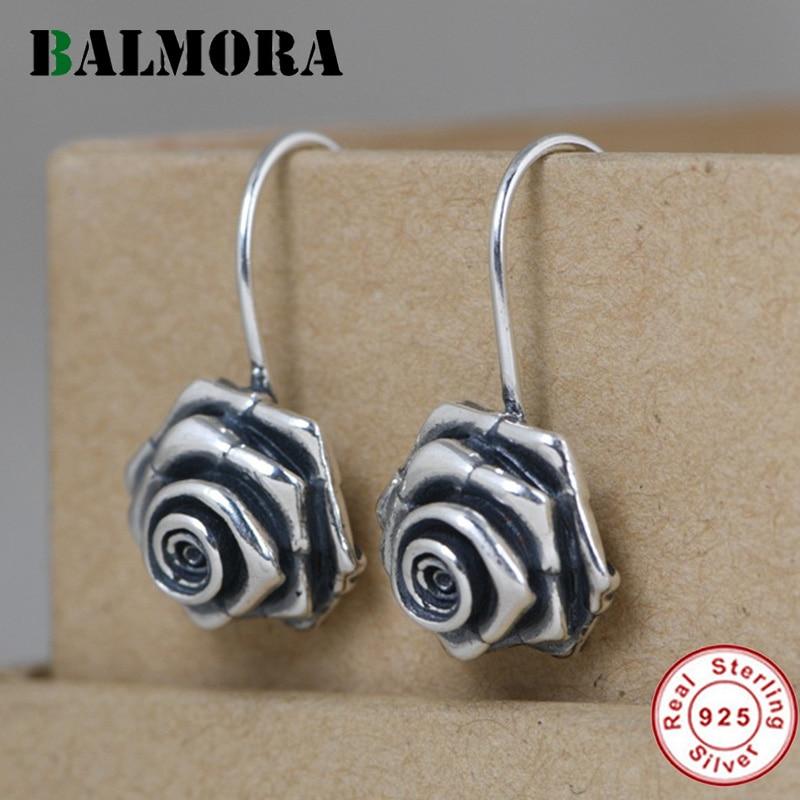 BALMORA Original 100% Real 925 Sterling Silver Rose Flower Earring For Women Retro Floral Dangler Ear stud Eardrop Jewelry Gift
