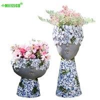 Petal Character Flower Pot Blue And White Porcelain Pattern Home Mother And Child Decoration Garden Micro Landscape Flower Pot