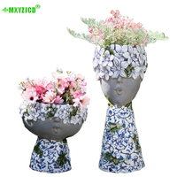Petal Character Flower Pot Blue And White Porcelain Pattern Home Mother And Child Decoration Garden Micro Landscape Flower Pot