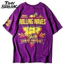 퍼플 티셔츠 힙합 롤링 웨이브 파인애플 프린트 티셔츠 남성 100 코튼 티셔츠 하라주쿠 2018 여름 도시 의류 탑스 티셔츠