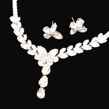 Luxury fashion zircon rhinestone necklace earring set wedding jewelry bride bridesmaid flower water drop accessories exquisite цена 2017