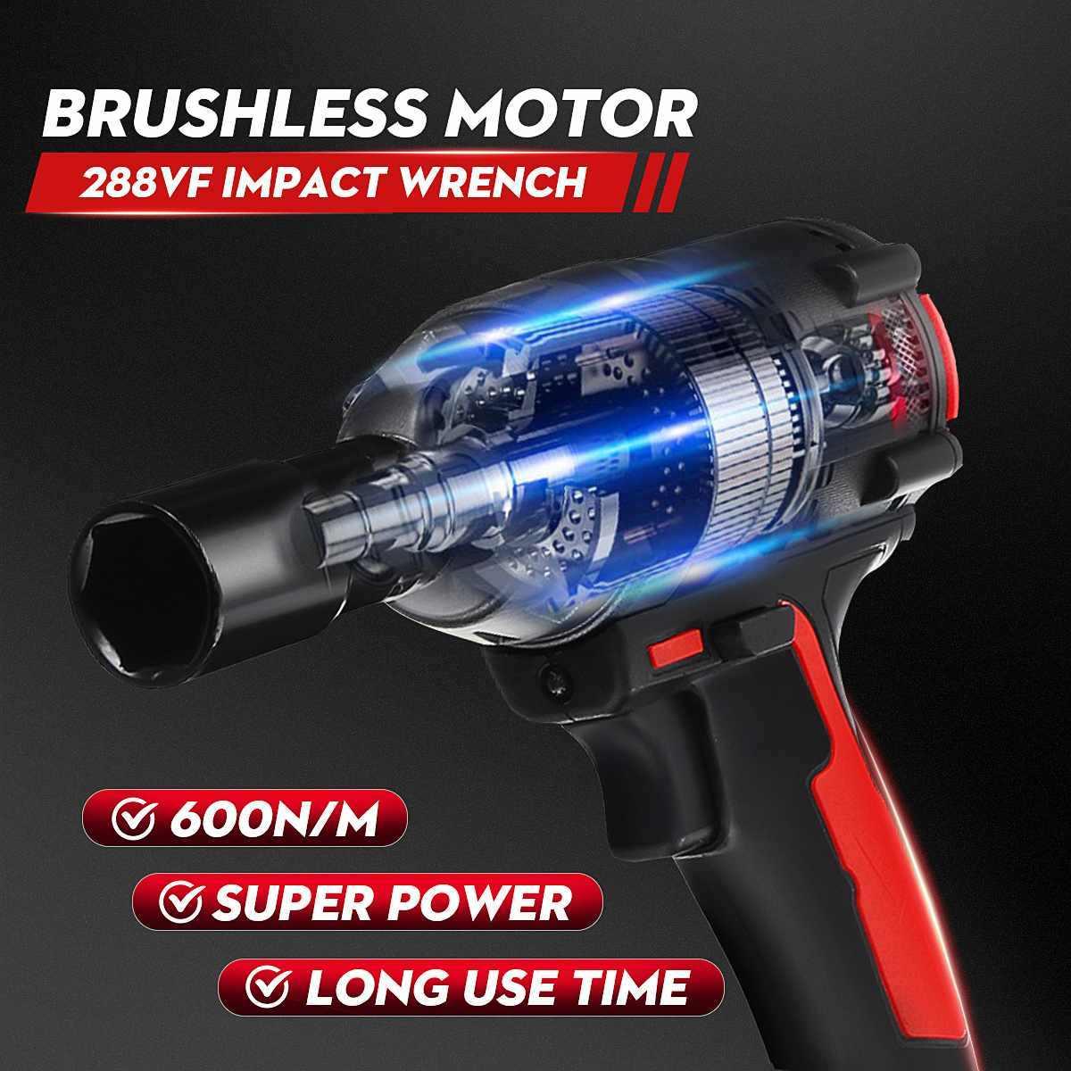 288VF llave eléctrica sin escobillas de impacto inalámbrico batería de iones de litio 600N. M Torque DIY casa coche/SUV llave de enchufe de rueda herramientas eléctricas