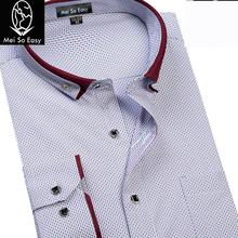 New arrival jesień męski nadruk z długim rękawem ekstra formalna koszula super duża moda polka dot plus rozmiar M-8XL9XL tanie tanio COTTON Tuxedo koszule Pełna Plac collar Pojedyncze piersi REGULAR Suknem Formalne Shirts