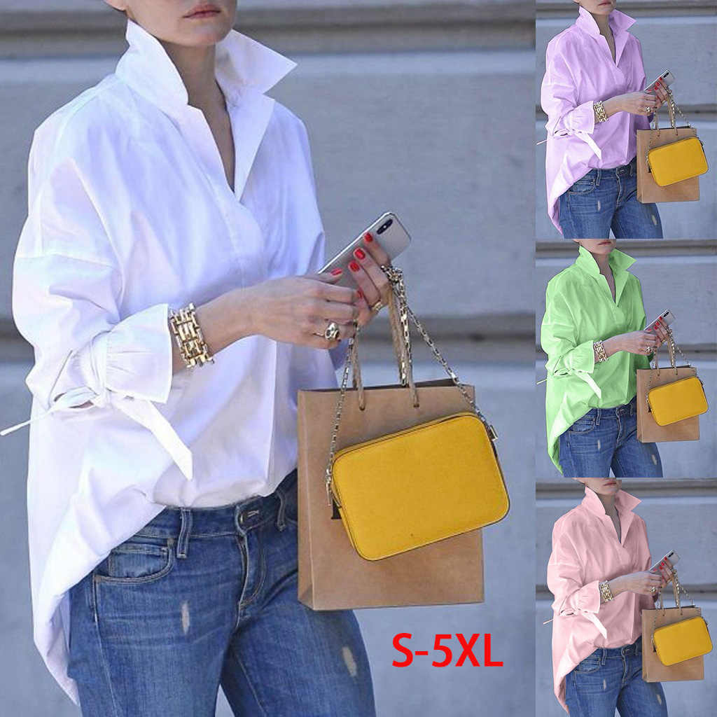 Sexy New Spring Long Sleeve Fashion Women Shirt Casual Tops  Lapel Shirt Plain Print Blouse Top Shirt Tops Blouses Woman