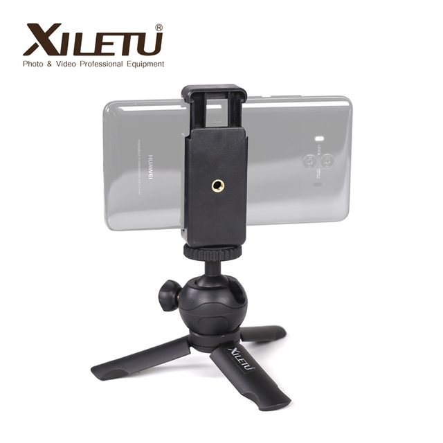 XILETU XS 1 Mini Desktop little handheld Stand Tabletop portable travel tripod for smartphone Cell Phone DSLR with phone holder