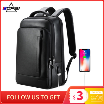 BOPAI genuine leather backpack laptop mens business casual real leather back pack male computer bagpack black leather backpack p kuone brand men genuine cow leather backpack large bagpack male business back pack travel rucksack school backpack bag black