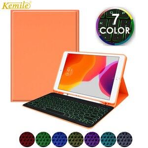 Funda para teclado retroiluminada para iPad Pro 11 2020 funda para teclado W portalápices funda para Apple iPad 7th 10,2 Air 2 10,5 teclado