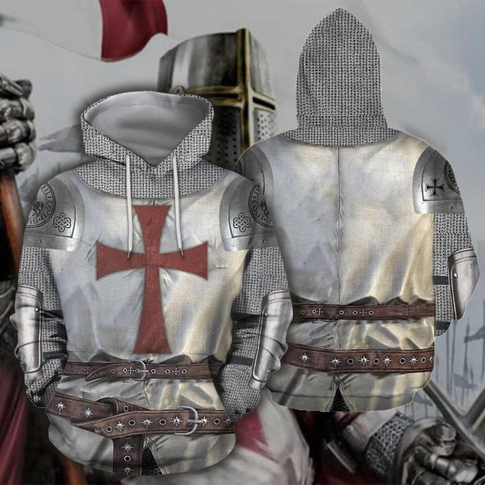 UJIW 3D Tutto Stampato Cavalieri Armatura Templari Magliette E Camicette Bandiera Streetwear Felpa Con Cappuccio Manica Lunga Pullover Su Ordinazione Con Cappuccio Trasporto di Goccia