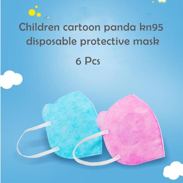 6Pcs Cute Panda Shape PM2.5 Mouth Mask For Kids Children Anti Haze Dust Mask Nose Filter Face Muffle Bacteria Flu Respirator 2