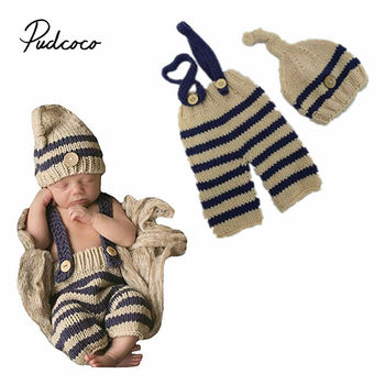 Newborn Baby Photography Props Infant Boy Girl Knitted Photo Outfits newborn accessories toddler girl overalls hat baby hats