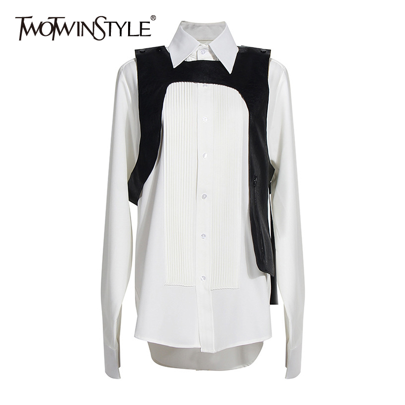 TWOTWINSTYLE Casual Asymmetrical Women Shirt Lapel Collae Long Sleeve Loose Hit Color Pleated Blouse For Female Fashion Clothing