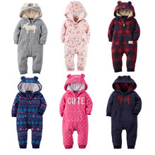 2020 Fall Winter Warm Infant Baby Rompers Coral Fleece Animal Overall Baby Boy Gril Halloween Xmas Costume Clothes Baby jumpsuit(China)