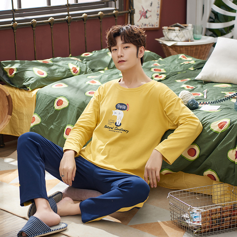 Autumn And Winter Pajamas Men's Simple Round Neck Long-sleeved Home Service Men's Korean Casual Pajamas Two-piece Suit