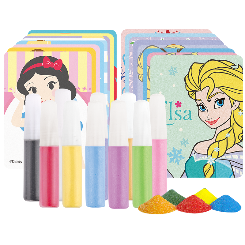 8pcs Sand Art Paper With 10 Colors Bottle Sand For Children Drawing Toys Two Princesses Kids Cartoon Sand Painting Art