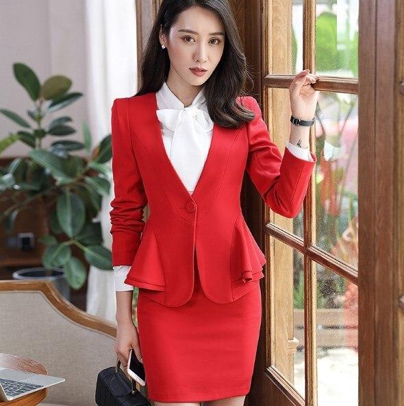Plus Size Women Slim Blazer Skirt Set 2 Pieces Ladies Designer Elegant Skirt Suit Office Vintage Womens Skirt Suit Black Red 5XL