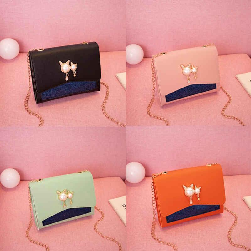 Модные женские сумки на плечо из искусственной кожи с бусинами, Сумка Сумочка тоут, портфель в Корейском стиле, маленькие сумки-мессенджеры с цепочкой