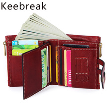 100% Real Genuine Leather Wallets Vintage Men Women Smal Trifoldl Wallets Ladies Money Bag Short Purses Coin Pocket Vallet Red