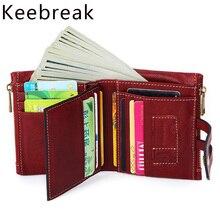 100% echte Echtem Leder Brieftaschen Vintage Männer Frauen Smal Trifoldl Geldbörsen Damen Geld Tasche Kurze Geldbörsen Münze Tasche Vallet Rot