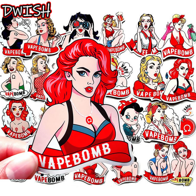 32pcs/Pack <font><b>Sexy</b></font> Blonde Bomb Belle VAPEBOMB Vsco Girl Stickers Guitar Skateboard Suitcase Waterproof Funny Graffiti Sticker Toy image