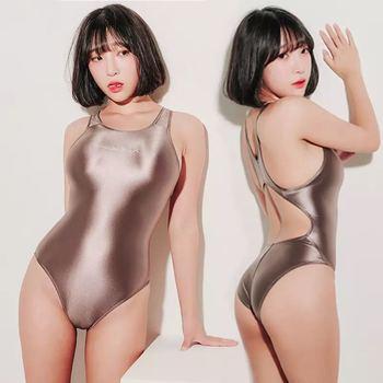 Hyrax Bodysuit Bathing Female Swimsui LEOHEX Leotards Satin Glossy High Cut Women Glitter Shiny One
