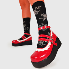 2021 New On Sale Plus Size 43 Sweet Gothic Lolita Style Girls Red Black White Mary Janes Flats Platform Shoes Women Footwear