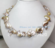 "~~ Free ShippingRare! Natural lilac big baroque reborn keshi pearl necklace 19"" fashion jewelry(China)"