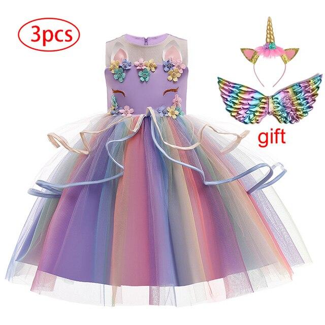 Girl's Unicorn Dress with Headband and Wings 3 Pcs Set 2