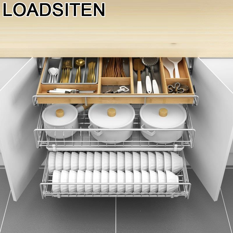 De Cosina Accessories Organizer Drawer For Organizador Armario Dish Stainless Steel Cocina Rack Cuisine Kitchen Cabinet Basket