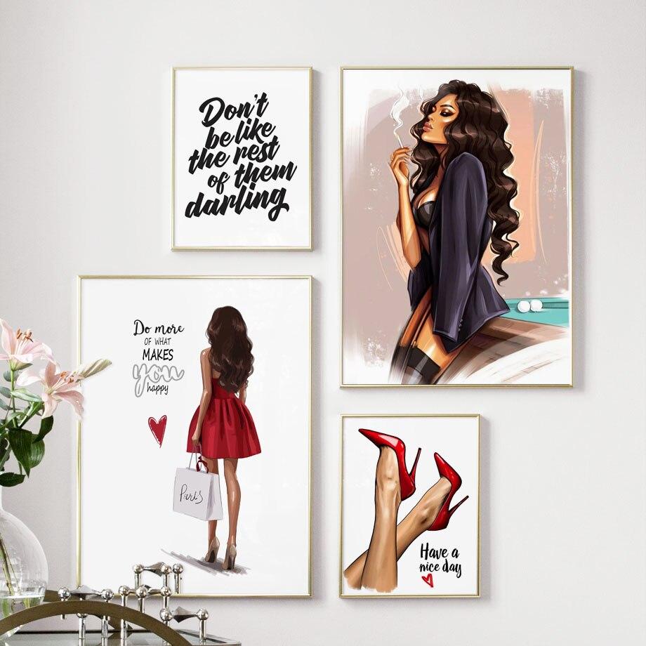 Скандинавский современный холст Картина Красный Высокий Каблук Девушка Vogue стены Поп Арт, Постер, принт модульные картины спальня стиль украшения дома|Рисование и каллиграфия| | - AliExpress