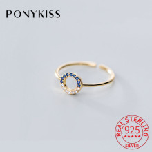 PONYKISS 925 Sterling Silver Hollow circle adjustable openin