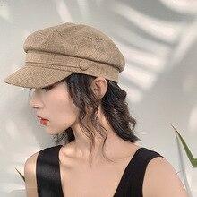 Cotton Beret Hats cap for women casual flat top hat Winter Autumn fashion Octagonal hats Girls Painter