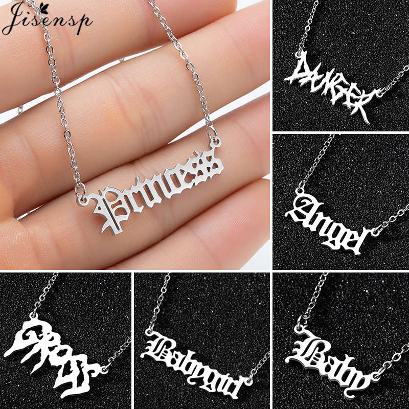 Hip Hop Art Letter Stainless Steel Necklace Gothic Punk Gross babygirl angel Baby princess prince Pendant Harajuku Necklace Gift(China)