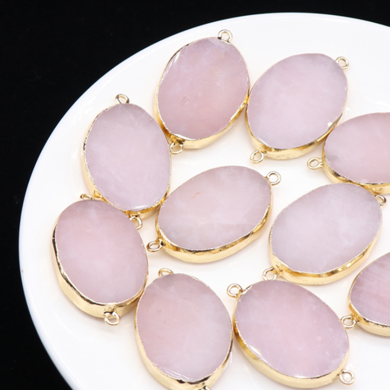 2pcs/lot 25*35mm Natural Stone Charms Pendant Pink Crystal Oval Pendant Charms For DIY Jewelry Accessories