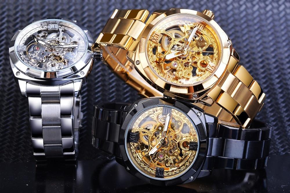 H310ad504830446d189a9a9979a13b12f3 Forsining 2018 Fashion Retro Men's Automatic Mechanical Watch Top Brand Luxury Full Golden Design Luminous Hands Skeleton Clock