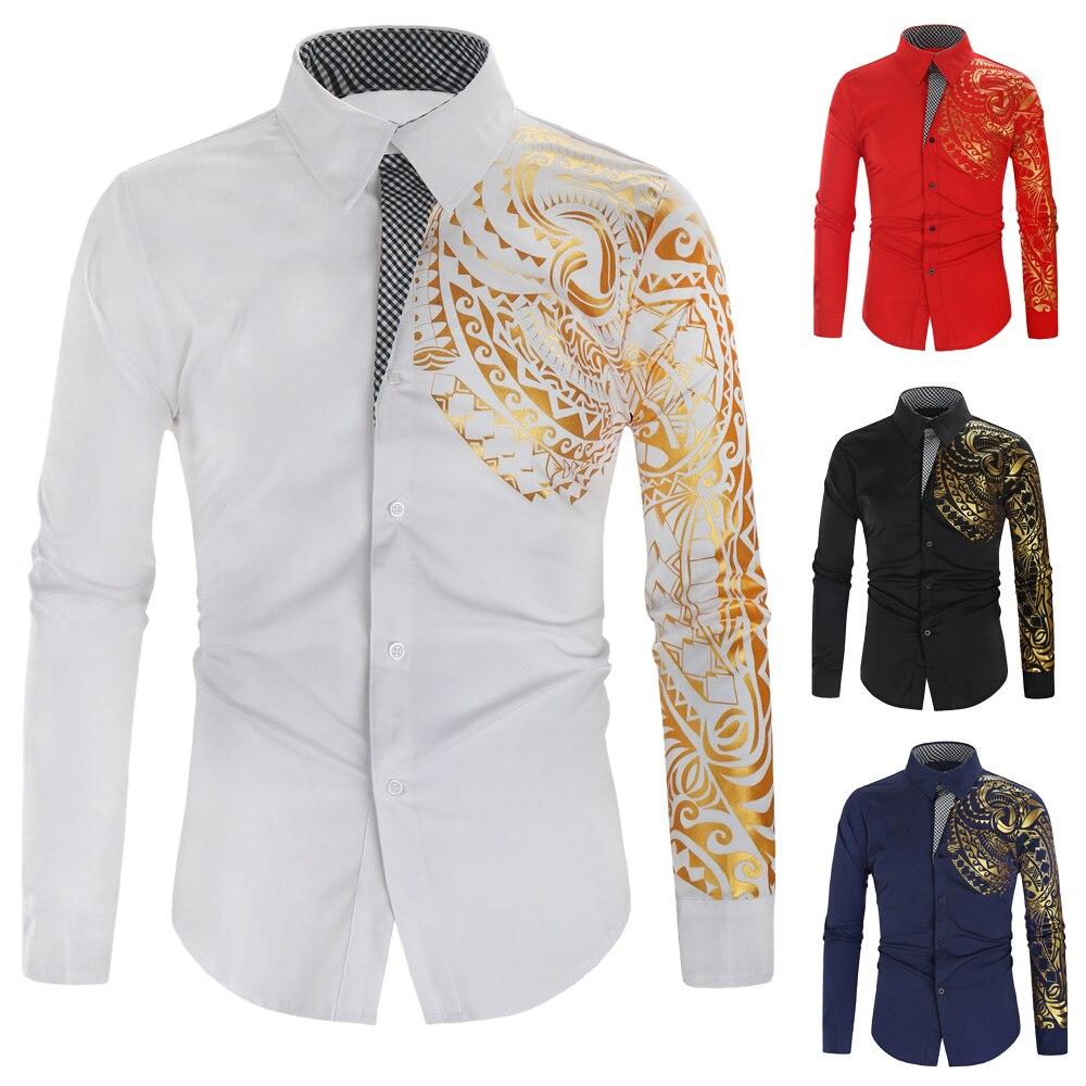 New Men Hawaiian Shirt Long Sleeve Floral Print Mens Dress Formal Shirts Camisa Social Masculina Men Casual Slim Tops Shirt 3XL