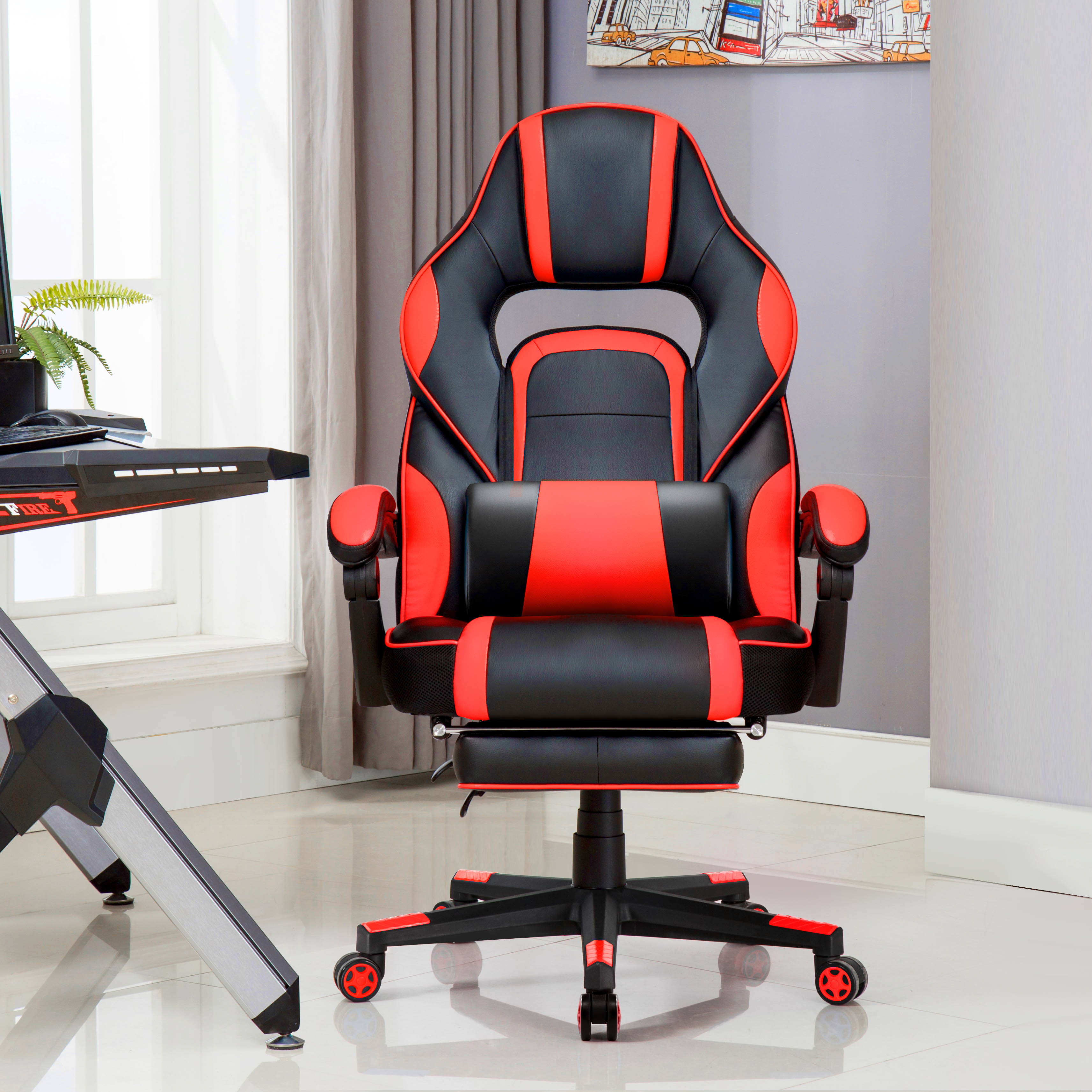 Gaming Chair Ergonomic Executive Chair For Gamers Office Chair With Folding Footrest Comfortable Lumbar Cushion For Work