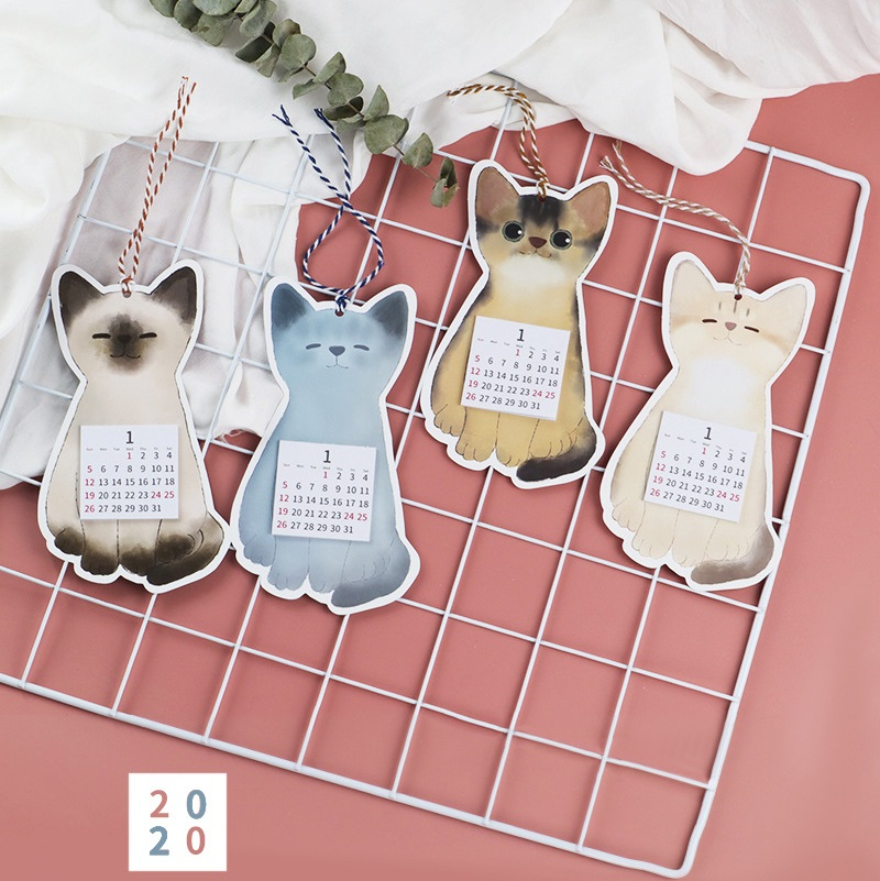 1Pc 2020 Lovely Cat And Fruit Calendar DIY Mini Cartoon Wall Calendars Daily Schedule Planner To Do List Stationery
