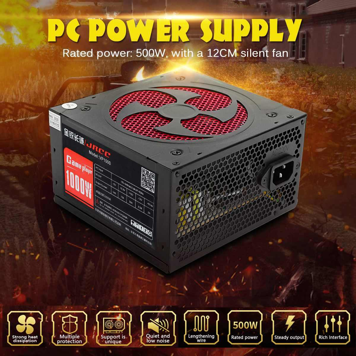 1000W ATX 20pin 12V Komputer PC SATA PC Gaming Power Supply Pasif PFC Silent Fan Power Supply untuk intel Amd Komputer Hitam