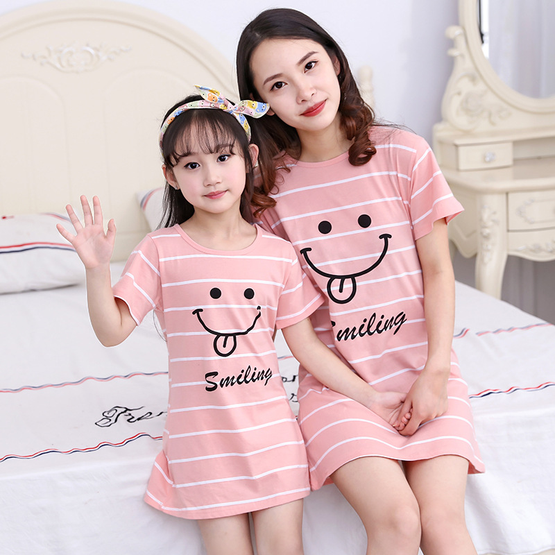 Girl'S Nightgown Summer Thin Section Pure Cotton Short Sleeve CHILDREN'S Pajamas Baby Princess Mother & Daughter Parent And Chil