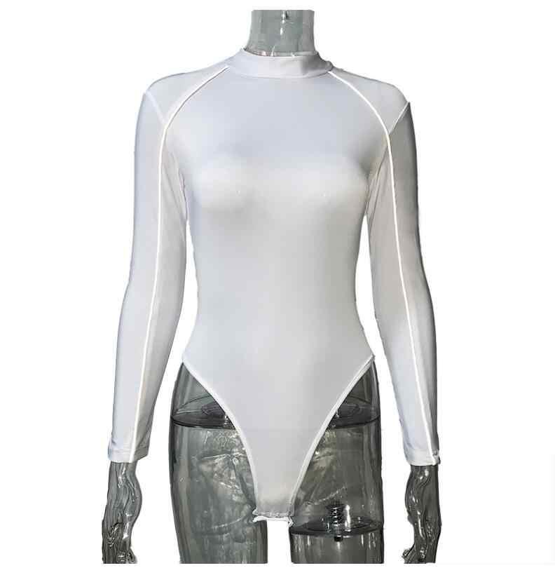 2019 mujeres Bodysuit ahuecado Flash reflectante correa de hombro Sexy fiesta Streetwear una pieza cuerpo Fiesta Club monos
