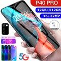 Hawei P40 Pro 5G смартфон 6,8 дюймов 12 Гб + 512 ГБ уход за кожей лица/отпечатков пальцев разблокированная Dual Sim телефон поддерживает DVB T-карты смартфон ...