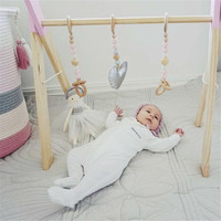 Baby Gym Wood Frame Toy Room Decor Play Wooden Nursery Sensory Infant Activity Clothes Rack Accessories Kids Photography Props