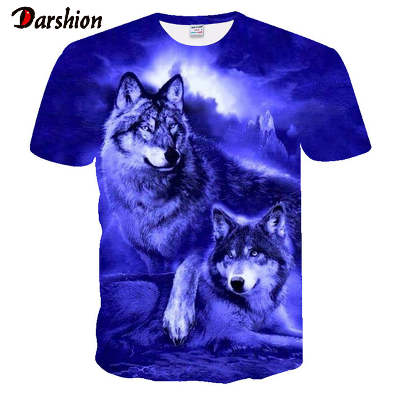 Hot Sale Men's T-shirts 3D Printed Popular Top Wolf Pattern T-Shirt Wolf Tshirts Men's Short Sleeve Personalized Boy's Tops