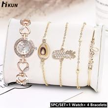 цена 5pc/set 2019 Luxury Brand Ladies Watches Women Gold Watch Buckle Fashion Casual Female Wristwatch Rhinestone Simple Bracelet Set онлайн в 2017 году