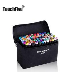 Набор маркеров TouchFive для рисования аниме, 30 40 60 80 168 цветов, спиртовые художественные скетч-маркеры для рисования, фломастеры (черные)