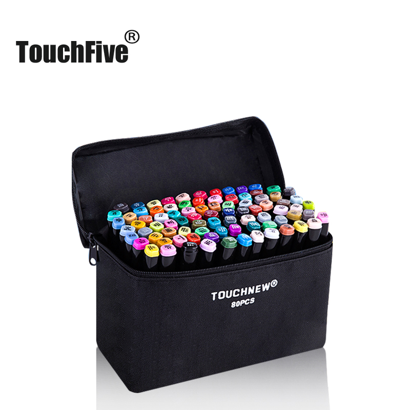 TouchFIVE Markers Pen Set 30 40 60 80 168Colors Animation Sketch Drawing Art Alcohol Anime Brush Pen Color Marker (Black Marker)