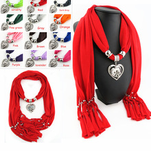 Classic hot-selling polyester scarf pure fringed metal pendant scarf heart-shaped alloy pendant scarf pendant scarf classic heart pendant