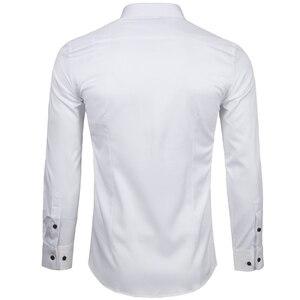 Image 4 - Mannen Bamboevezel Jurk Shirts Casual Slim Fit Lange Mouw Man Sociale Shirts Comfortabele Niet Ijzer Effen Chemise Homme blauw