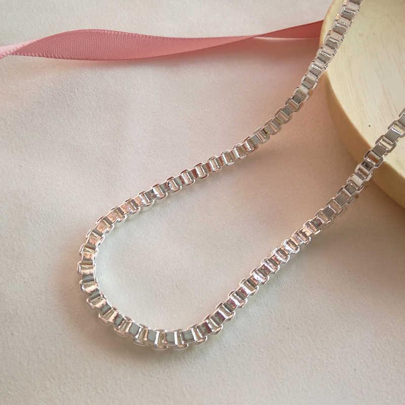 シルバー 925 ジュエリー 4 ミリメートルボックス男性女性 20 インチロングネックレスファッションジュエリー卸売誕生日ギフト