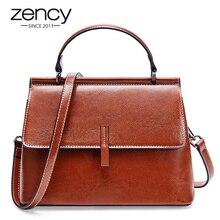 Zency 100% Genuine Leather Retro Brown Women Tote Bag Small Flap Daily Casual Shoulder Messenger Bags Black Grey Handbag